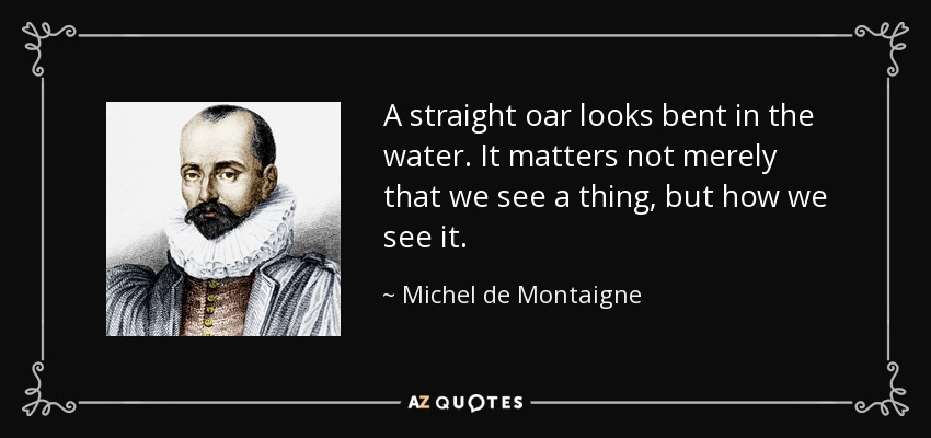 A straight oar looks bent in the water. It matters not merely that we see a thing, but how we see it. - Michel de Montaigne