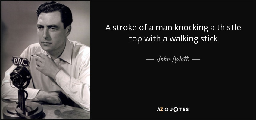 A stroke of a man knocking a thistle top with a walking stick - John Arlott