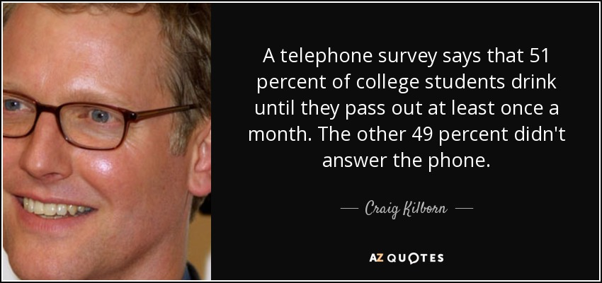 A telephone survey says that 51 percent of college students drink until they pass out at least once a month. The other 49 percent didn't answer the phone. - Craig Kilborn