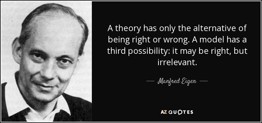 A theory has only the alternative of being right or wrong. A model has a third possibility: it may be right, but irrelevant. - Manfred Eigen