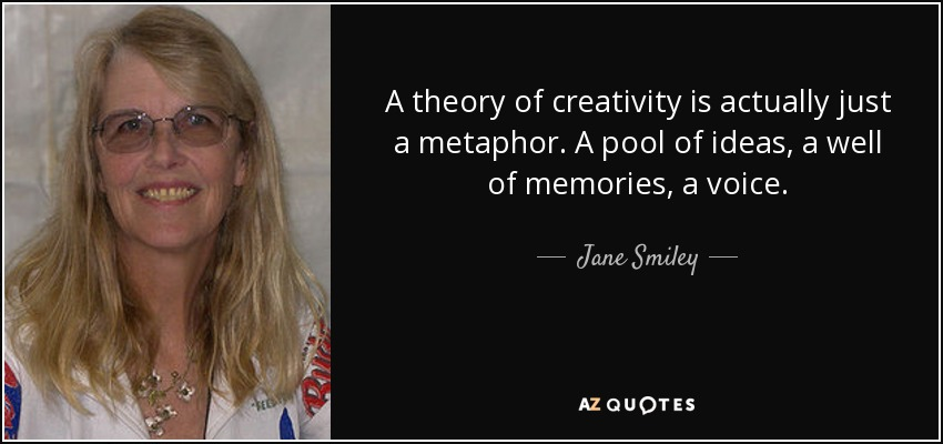 A theory of creativity is actually just a metaphor. A pool of ideas, a well of memories, a voice. - Jane Smiley