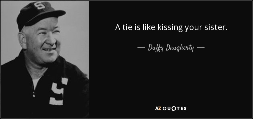 A tie is like kissing your sister. - Duffy Daugherty