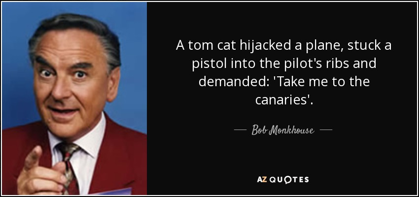 A tom cat hijacked a plane, stuck a pistol into the pilot's ribs and demanded: 'Take me to the canaries'. - Bob Monkhouse