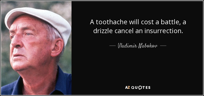 A toothache will cost a battle, a drizzle cancel an insurrection. - Vladimir Nabokov