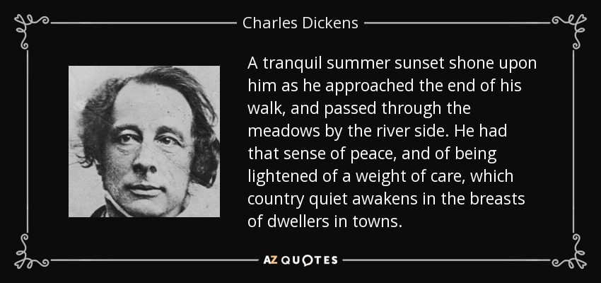 A tranquil summer sunset shone upon him as he approached the end of his walk, and passed through the meadows by the river side. He had that sense of peace, and of being lightened of a weight of care, which country quiet awakens in the breasts of dwellers in towns. - Charles Dickens