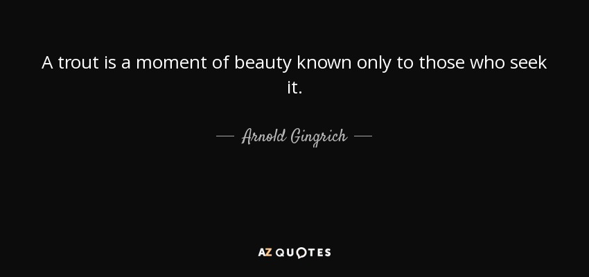 A trout is a moment of beauty known only to those who seek it. - Arnold Gingrich