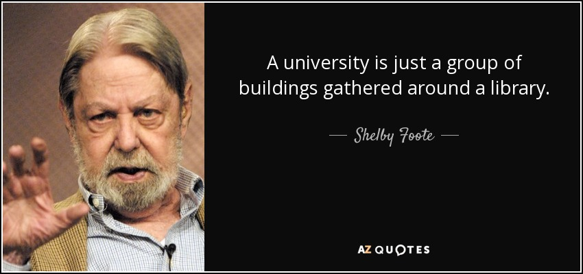 A university is just a group of buildings gathered around a library. - Shelby Foote