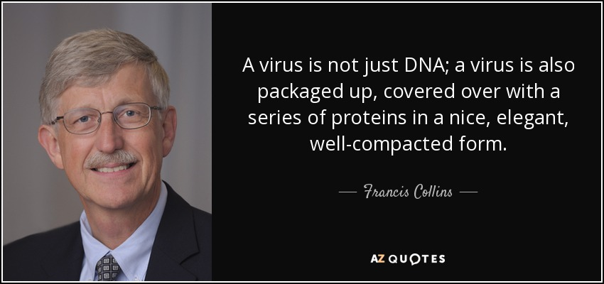 A virus is not just DNA; a virus is also packaged up, covered over with a series of proteins in a nice, elegant, well-compacted form. - Francis Collins