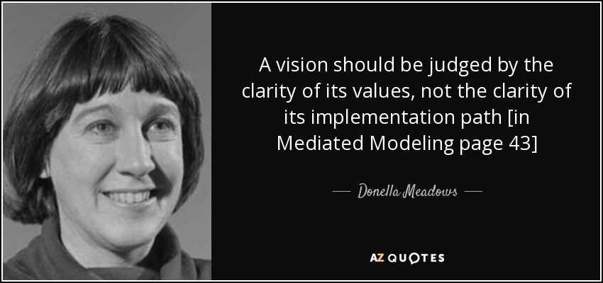 A vision should be judged by the clarity of its values, not the clarity of its implementation path [in Mediated Modeling page 43] - Donella Meadows