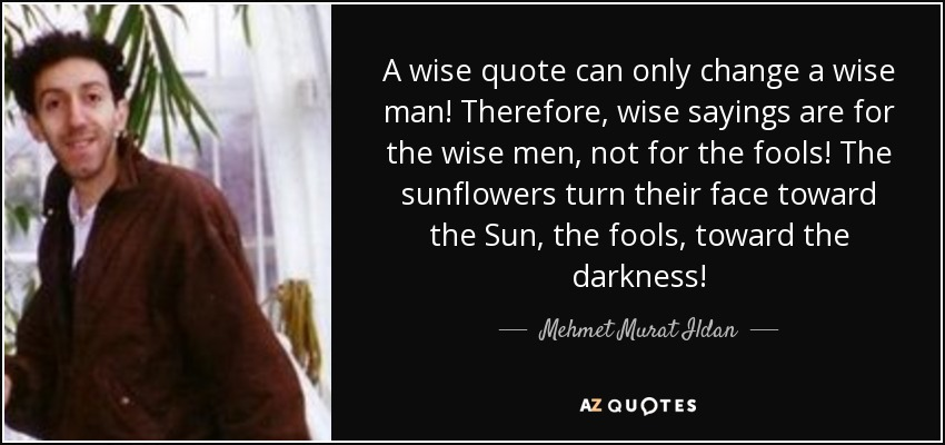 A wise quote can only change a wise man! Therefore, wise sayings are for the wise men, not for the fools! The sunflowers turn their face toward the Sun, the fools, toward the darkness! - Mehmet Murat Ildan