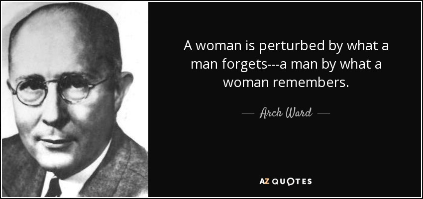 A woman is perturbed by what a man forgets---a man by what a woman remembers. - Arch Ward
