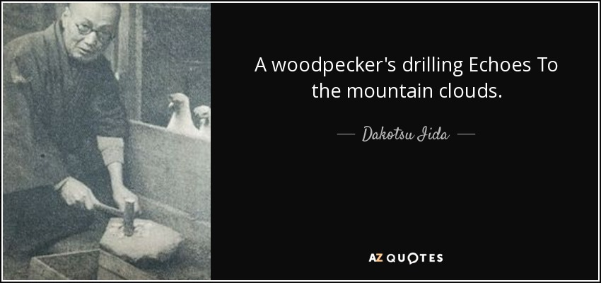 A woodpecker's drilling Echoes To the mountain clouds. - Dakotsu Iida