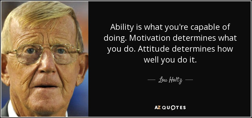 Ability is what you're capable of doing. Motivation determines what you do. Attitude determines how well you do it. - Lou Holtz
