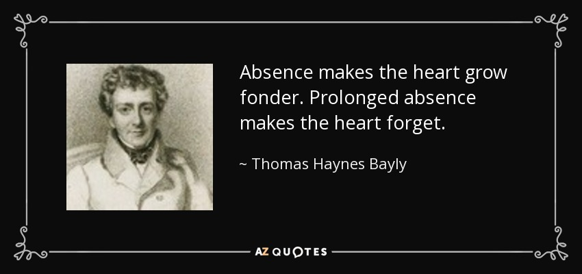Absence makes the heart grow fonder. Prolonged absence makes the heart forget. - Thomas Haynes Bayly