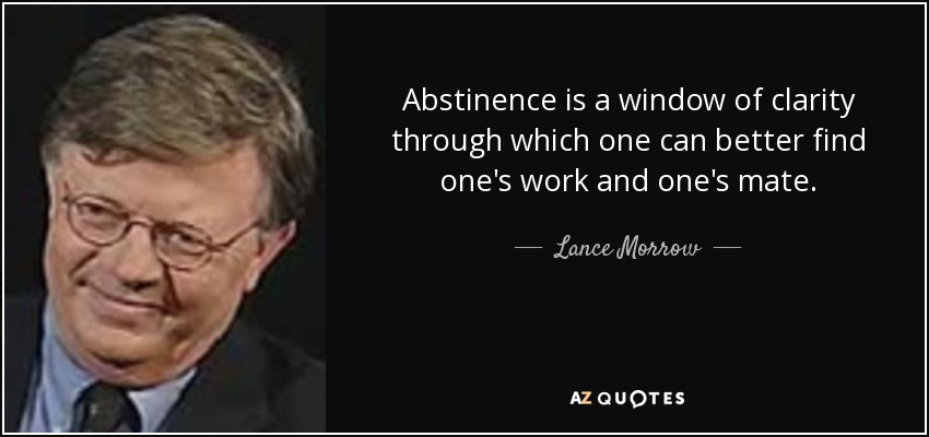 Abstinence is a window of clarity through which one can better find one's work and one's mate. - Lance Morrow