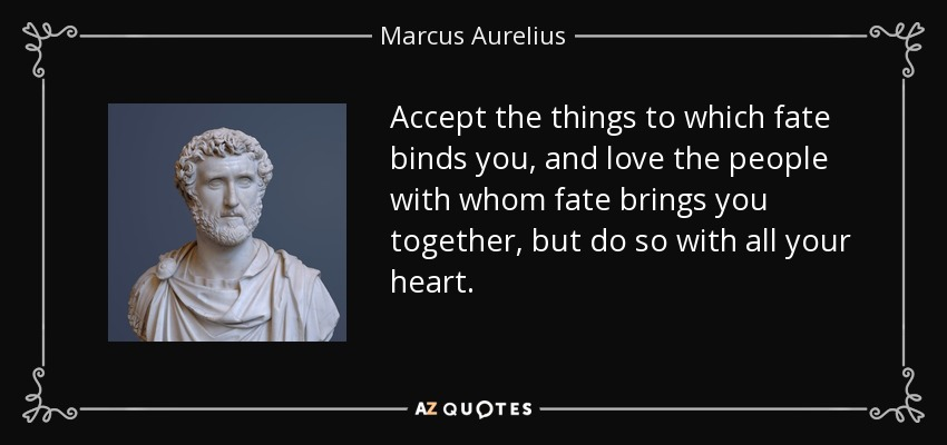 Accept the things to which fate binds you, and love the people with whom fate brings you together, but do so with all your heart. - Marcus Aurelius