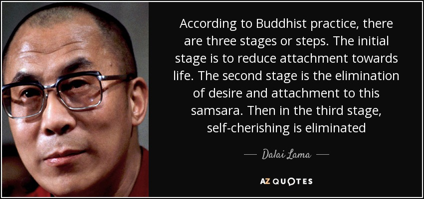 According to Buddhist practice, there are three stages or steps. The initial stage is to reduce attachment towards life. The second stage is the elimination of desire and attachment to this samsara. Then in the third stage, self-cherishing is eliminated - Dalai Lama