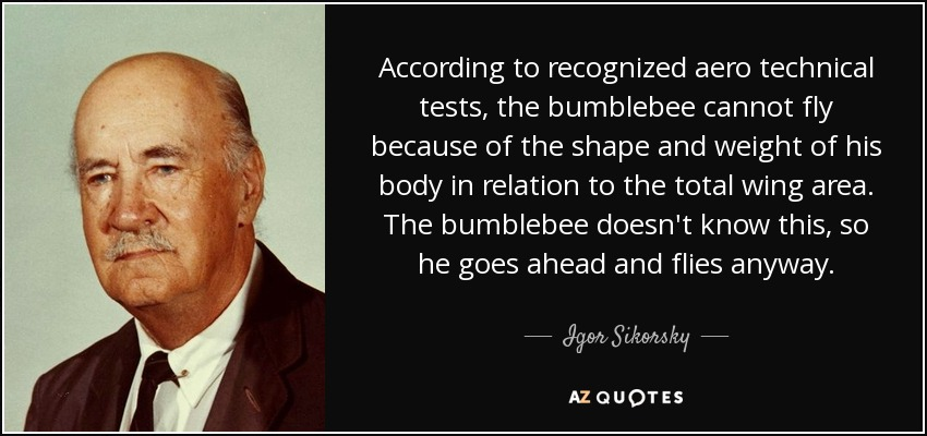 According to recognized aero technical tests, the bumblebee cannot fly because of the shape and weight of his body in relation to the total wing area. The bumblebee doesn't know this, so he goes ahead and flies anyway. - Igor Sikorsky