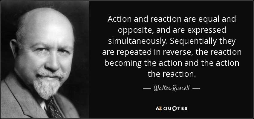Action and reaction are equal and opposite, and are expressed simultaneously. Sequentially they are repeated in reverse, the reaction becoming the action and the action the reaction. - Walter Russell