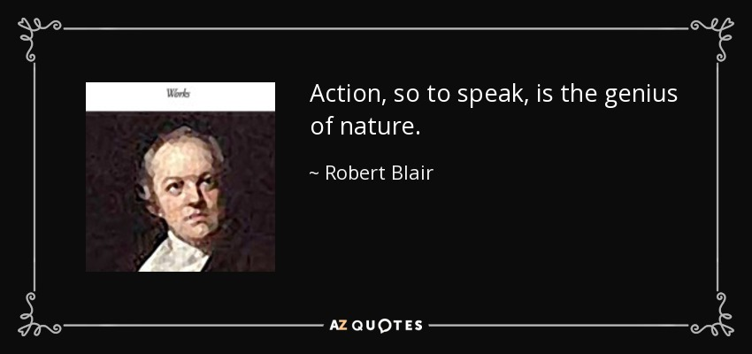 Action, so to speak, is the genius of nature. - Robert Blair