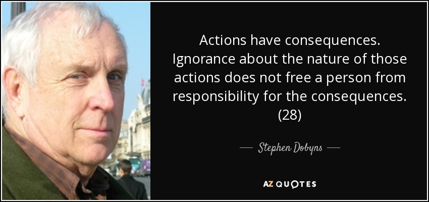 Actions have consequences. Ignorance about the nature of those actions does not free a person from responsibility for the consequences. (28) - Stephen Dobyns
