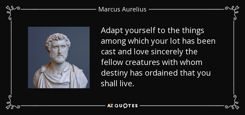 Adapt yourself to the things among which your lot has been cast and love sincerely the fellow creatures with whom destiny has ordained that you shall live. - Marcus Aurelius