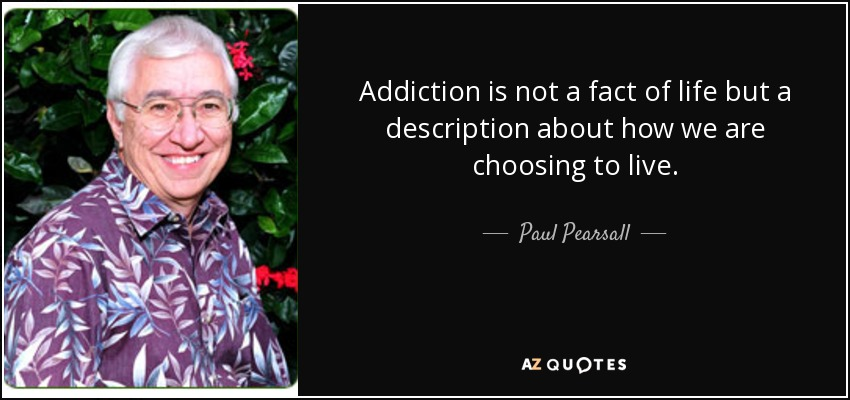 Addiction is not a fact of life but a description about how we are choosing to live. - Paul Pearsall