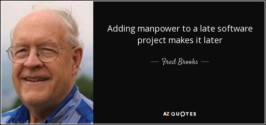 Adding manpower to a late software project makes it later - Fred Brooks