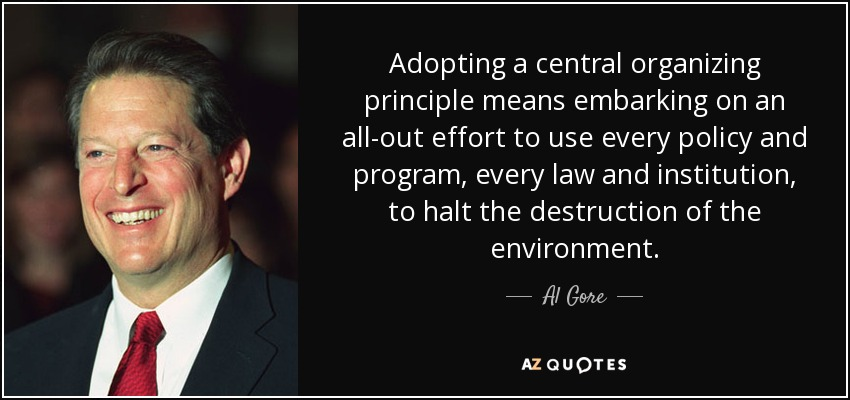 Adopting a central organizing principle means embarking on an all-out effort to use every policy and program, every law and institution, to halt the destruction of the environment. - Al Gore