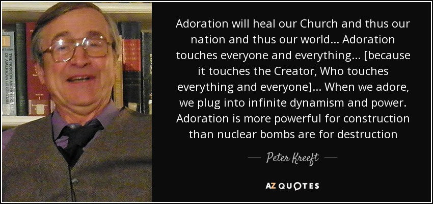 Adoration will heal our Church and thus our nation and thus our world... Adoration touches everyone and everything... [because it touches the Creator, Who touches everything and everyone]... When we adore, we plug into infinite dynamism and power. Adoration is more powerful for construction than nuclear bombs are for destruction - Peter Kreeft