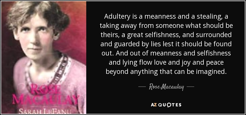 Adultery is a meanness and a stealing, a taking away from someone what should be theirs, a great selfishness, and surrounded and guarded by lies lest it should be found out. And out of meanness and selfishness and lying flow love and joy and peace beyond anything that can be imagined. - Rose Macaulay