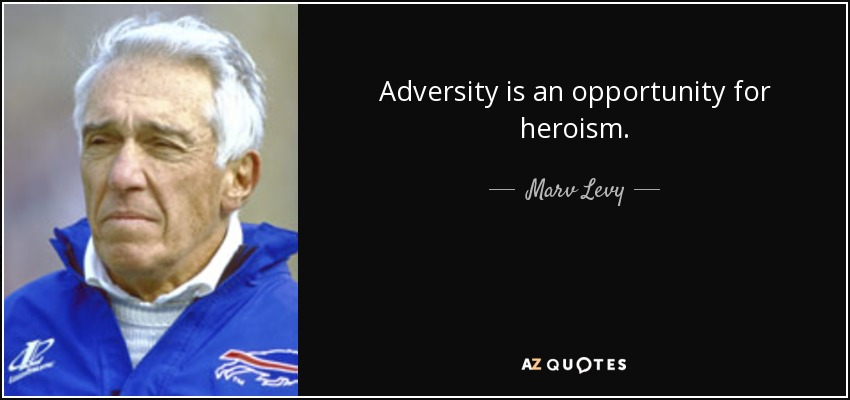 Adversity is an opportunity for heroism. - Marv Levy