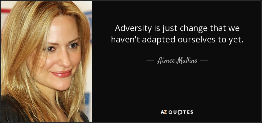 Adversity is just change that we haven't adapted ourselves to yet. - Aimee Mullins