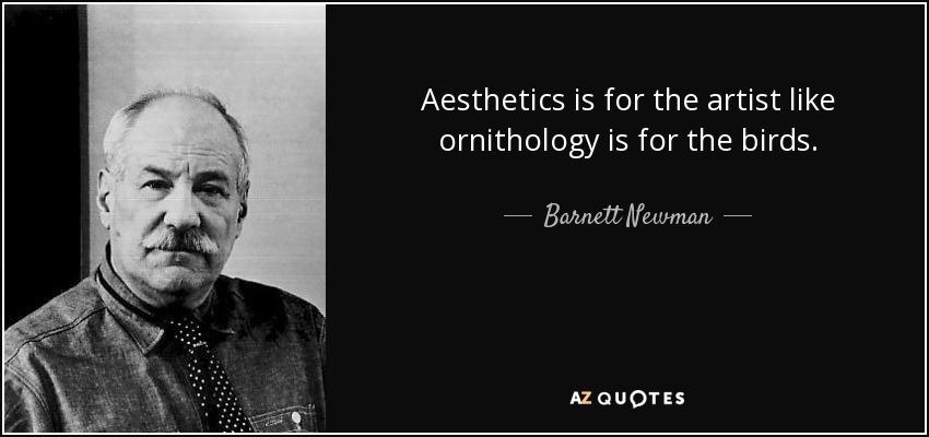 Aesthetics is for the artist like ornithology is for the birds. - Barnett Newman