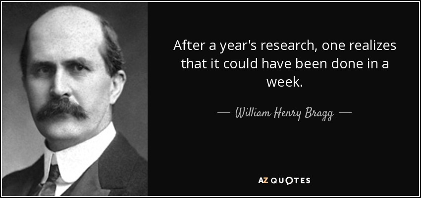 After a year's research, one realizes that it could have been done in a week. - William Henry Bragg