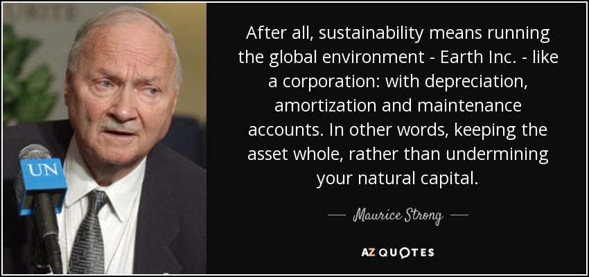 After all, sustainability means running the global environment - Earth Inc. - like a corporation: with depreciation, amortization and maintenance accounts. In other words, keeping the asset whole, rather than undermining your natural capital. - Maurice Strong