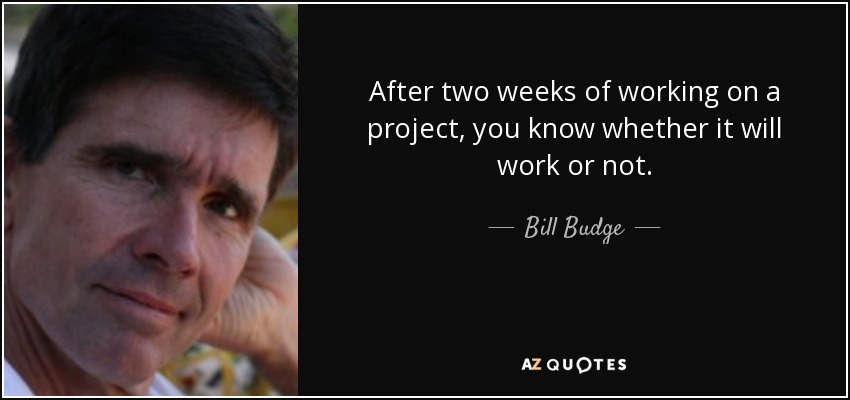 After two weeks of working on a project, you know whether it will work or not. - Bill Budge