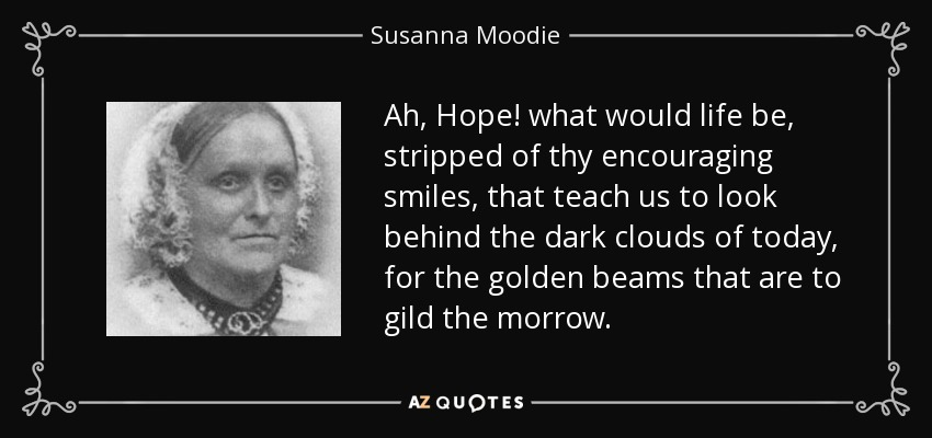 Ah, Hope! what would life be, stripped of thy encouraging smiles, that teach us to look behind the dark clouds of today, for the golden beams that are to gild the morrow. - Susanna Moodie