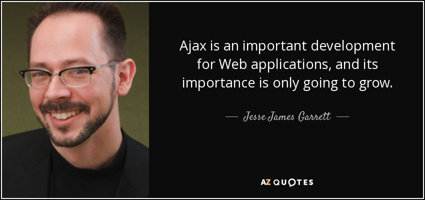 Ajax is an important development for Web applications, and its importance is only going to grow. - Jesse James Garrett