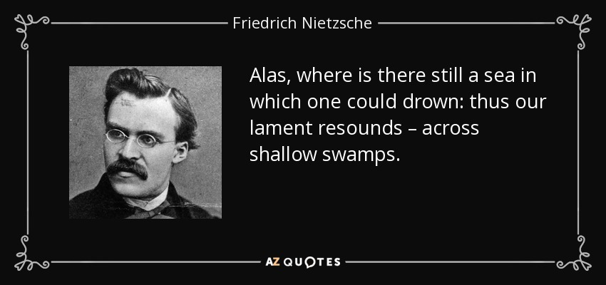 Alas, where is there still a sea in which one could drown: thus our lament resounds – across shallow swamps. - Friedrich Nietzsche
