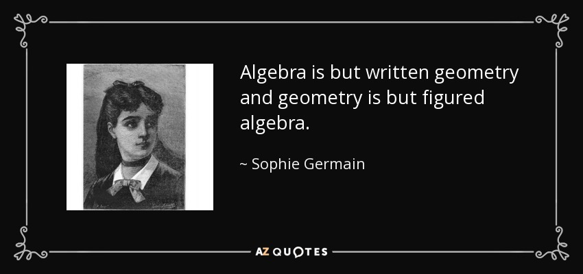 Algebra is but written geometry and geometry is but figured algebra. - Sophie Germain