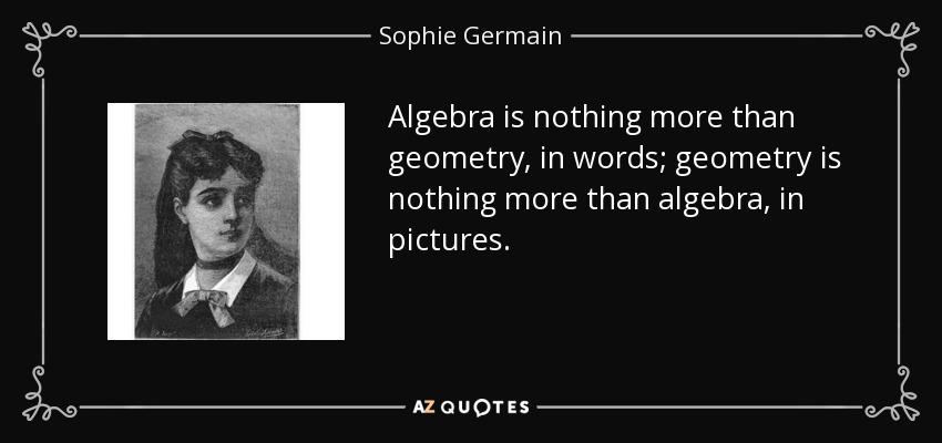 Algebra is nothing more than geometry, in words; geometry is nothing more than algebra, in pictures. - Sophie Germain