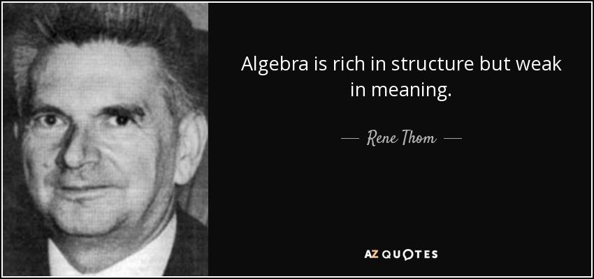 Algebra is rich in structure but weak in meaning. - Rene Thom
