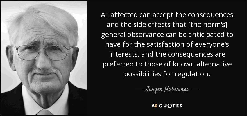 All affected can accept the consequences and the side effects that [the norm's] general observance can be anticipated to have for the satisfaction of everyone's interests, and the consequences are preferred to those of known alternative possibilities for regulation. - Jurgen Habermas