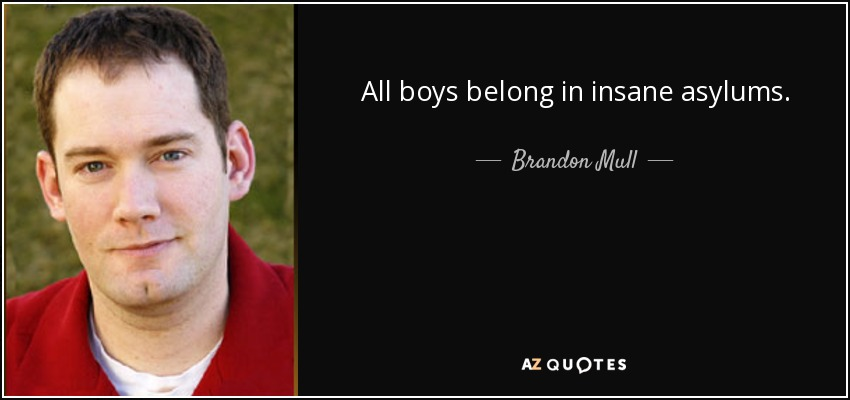All boys belong in insane asylums. - Brandon Mull