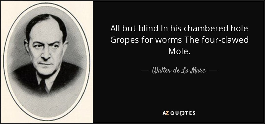 All but blind In his chambered hole Gropes for worms The four-clawed Mole. - Walter de La Mare