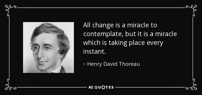 All change is a miracle to contemplate, but it is a miracle which is taking place every instant. - Henry David Thoreau