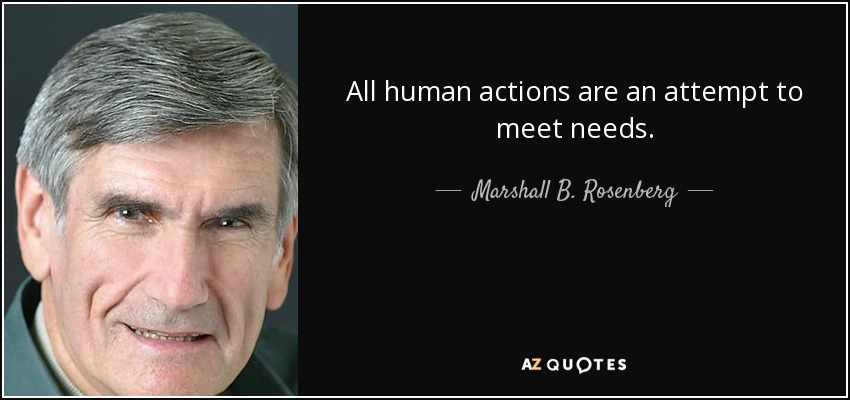 All human actions are an attempt to meet needs. - Marshall B. Rosenberg