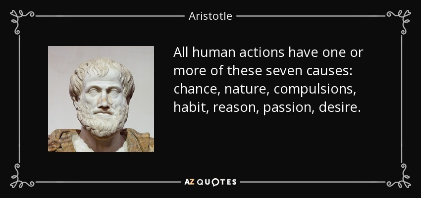 All human actions have one or more of these seven causes: chance, nature, compulsions, habit, reason, passion, desire. - Aristotle