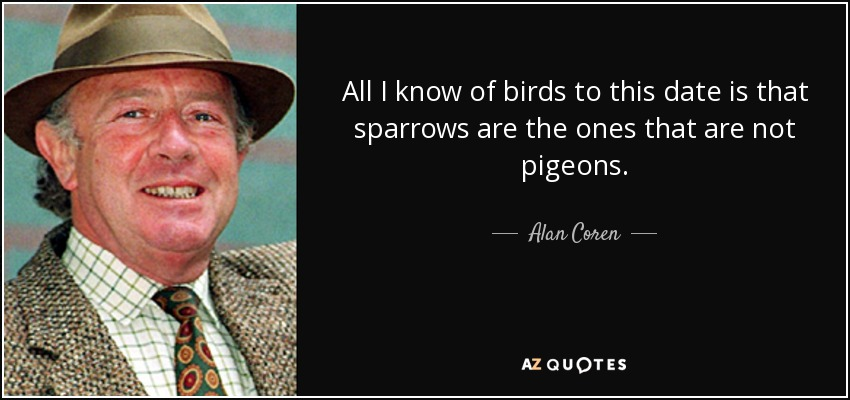 All I know of birds to this date is that sparrows are the ones that are not pigeons. - Alan Coren